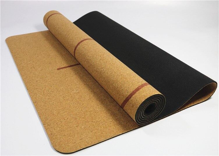 Natur Kork TPE Yogamatte mit Positionslinie 183 X 68 X 0,5cm